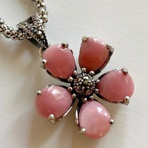 Vintage 925 Marcasite Pink Stone Flower Necklace